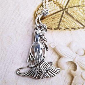 Silver Art Nouveau Mucha Goddess Long Necklace